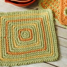 This dishcloth pattern is worked from the center out. Add some splashes of color for a neat geometric design!