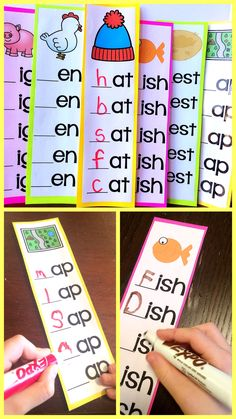 Word Families Literacy Center - great for first grade! Just laminate the strips and use a dry erase marker to make words. Comes with both short and long vowels! #wordfamilies