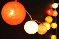 35 Lights  Honey Orange Set  5 Color Cotton Ball by YooCotton