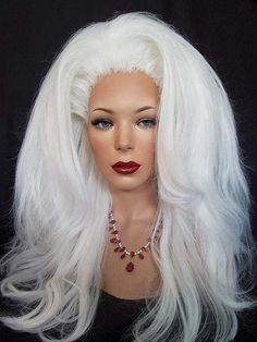 Drag queen styled white wig