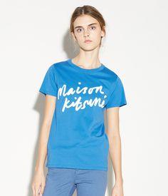 T SHIRT HANDWRITING SAX BLUE #J'aDoRe JUN ONLINE #J'aDoRe Magazine #MAISON KITSUNE PARIS #WOMEN'S FASHION #2016 SPRING&SUMMER