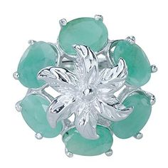 Decorative Natural Emerald Gemstones 925 Sterling Silver Ladies Statement Ring Available at joyfulcrown.comfl