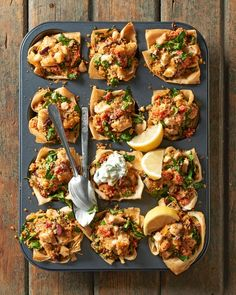 Bursting with fresh Mediterranean flavors, these phyllo bites are a bright addition to any appetizer spread. Chicken and couscous salad are tucked inside warm phyllo dough to create these mini appetizers in cups. #appetizers #partyfood #fingerfood #miniappetizerrecipes #muffintinrecipes #bhg Frozen Appetizers, Recipes Appetizers And Snacks, Tasty Mac And Cheese, Phyllo Cups, Phyllo Dough, Muffin Tin Recipes, Muffin Tins, Lemon Pasta, Tzatziki Sauce