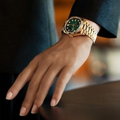 Inspiration for the season. The Rolex Day-Date 36 in yellow gold, 36 mm case, green ombré dial set with diamonds, President bracelet. Gold Rolex Women, Gold Watches Women, Boys Watches, Rolex Watches For Men, Luxury Watches, Rolex Day Date, Used Rolex For Sale, Latest Watches, Watches Online
