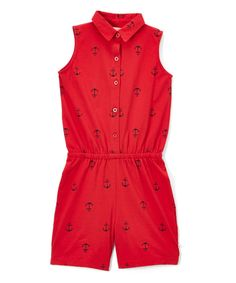 Red & Navy Anchor Button-Up Polo Romper - Infant Toddler & Girls