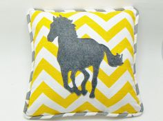 who doesnt love horses! yellow chevron pillow cover with light gray striped piping and a charcoal felt horse silhouette. Shown in yellow Throw Pillow Covers, Throw Pillows, Horse Silhouette, Yellow Chevron, Gifts For Horse Lovers, Cozy Corner, Dream Home Design, Canvas Art, Arts And Crafts