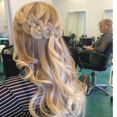 Four strand french braid into loose curls
