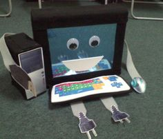 Computer- Model for younger students to learn the different parts of a computer. Computer Lab Organization, Computer Lab Decor, Computer Science, Computer Basics, School Stuff, Projects To Try, Students, Classroom, Technology