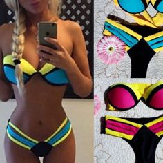 $23!! Sexy Yellow /Black /Blue 2 Piece Bikini 2 Piece Size Small: 32AB to 36B 24/25 inch waist  Medium:  32/36B to 32/34C 26/27 inch waist Large:  32/34C to 34D 28.5/30 inch waist Swim Bikinis
