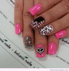 Botanic nails hearts, animal prints, diamonds