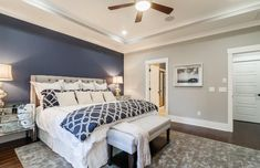 Traditional Master Bedroom with Ceiling fan, High ceiling, Dawson Contemporary Mirrored Nightstand, Hardwood floors, Carpet