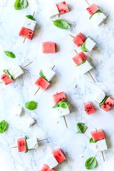 Watermelon, Feta Cheese and Basil Snack Recipe