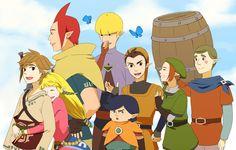 The Legend of Zelda Skyward Sword / Link, Zelda, Groose, Cawlin, Stritch, Pipit, Karene, Fledge love this picture.