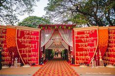 Radhika and Vedant Wedding Hall Decorations, Wedding Entrance, Wedding Mandap, Entrance Decor, Wedding Gate, Backdrop Decorations, Backdrops, Wedding Album Design, Mehndi Decor
