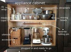 Ideas Kitchen Cabinets Organization Drawers Appliance Garage For 2019 Appliance Cabinet, Kitchen Appliance Storage, Small Kitchen Organization, Appliance Garage, Organization Station, Organization Ideas, New Kitchen Cabinets, Kitchen Appliances, Small Appliances