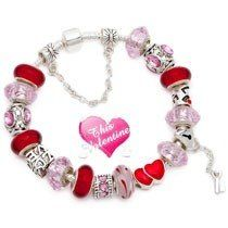 Valentine gift pink and red murano glass beads love heart key charm beads European bracelet
