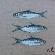 """Trois sardines"" Acrylique sur toile de lin. ***************** Dimensions : 20 x20 cm Food Illustrations, Illustration Art, Jellyfish Art, Watercolor Ocean, Food Artists, Cottages By The Sea, A Level Art, Beach Art, Animal Paintings"