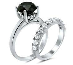 5.0ct Black Round Diamond Engagement Ring Bridal Set 14k White Gold