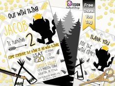 Wild things birthday invitation FREE tag, Where the wild things are invitation, wild things invitation, Wild things invitation and back by IrisNaiderDesign on Etsy Personalized Invitations, Wild Things, Birthday Invitations, Tags, Free, Etsy