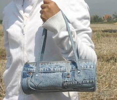 Recycled Jeans Crafts | bangkok fashion bag made from recycled denim jeans each bag
