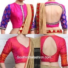 elbow_sleeves_brocade_pattu_blouse_designs