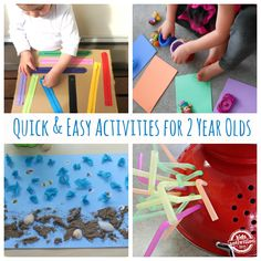 20 {Quick and Easy} Activities for 2 Year Olds - fun, diy, crafts for kids. I am sure you will find an educational idea or two as well! Activities For 2 Year Olds, Craft Activities For Kids, Infant Activities, Educational Activities, Projects For Kids, Preschool Activities, Games For Kids, Winter Activities, Craft Ideas