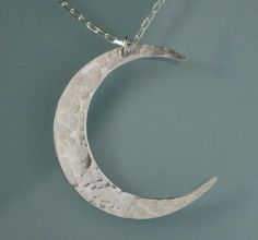 MOON Necklace Sterling Silver Crescent Moon by ERiaDesigns on Etsy, $36.00