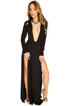 Turn heads in this stunning maxi dress! Featuring plunging V neck, long sleeve, cut outs, double side slit, followed by a fitted wear.