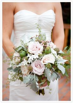 quicksand roses, dusty miller, seeded eucalyptus, poppy pods, scabiosa pods, pink misty...