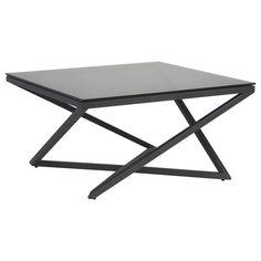 atelier loft studio table basse avec dessus en verre noir et base en mtal - Table Atelier Loft