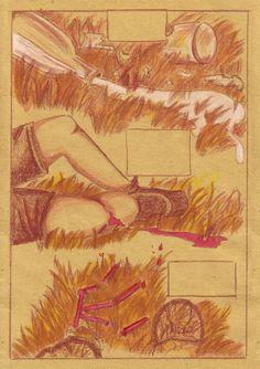 Inchiostro color seppia, ecoline, pastelli su carta da frittura