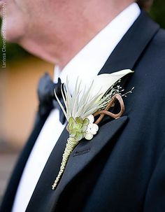 Rustic Calla Lily and Succulent Boutonniere by Waterlily Pond.
