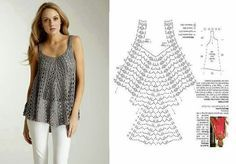 Crochet tank tunic with diagram - now this is incentive for you younger or slender gals, to learn to crochet. ;)