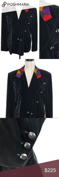 d9a3e672 Escada Vintage 1980s Geometric Black Velvet Blazer Gorgeous black velvet  blazer with colorful geometric Colorblock collar