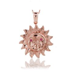 14K Solid Gold Sun Charm Pendant Necklace #BeeloGold #Pendant