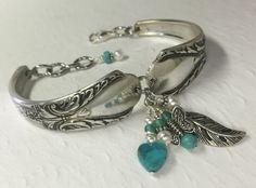 Silver Spoon Bracelet Turquoise Heart White by SpoonfestJewelry