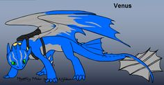 This is Venus, she's a gentle night fury who is very intelligent. She loves basically any type of fish, but she also really likes... Cookies? Yeah, yeah, she  likes cookies, it's unusual, get over it! Hah! She spends a lot of time helping her rider train the hatchlings in the nursery, and sitting out in the fields with her.