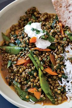 Many of Madhur Jaffrey's books have an Indian slant, but she's most famous for her 1999 tome Madhur Jaffrey's World Vegetarian. While she often follows the Indian tradition of serving several small dishes together, the lentil-vegetable curry here is a Western-style main course. Eaten over rice with yogurt, it's a very satisfying meal. #soup #souprecipes #soupdishes Side Dish Recipes, Veggie Recipes, Indian Food Recipes, Croatian Recipes, Hungarian Recipes, Veggie Meals, Kitchen Recipes, Cooking Recipes, Cleaning Recipes