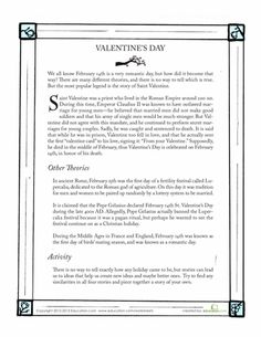 Worksheets: History of Valentine's Day  middle school