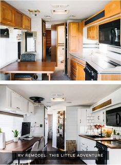Camper Design Vibes: Modern Meets Rustic in this Creative RV Renovation from This Little Adventure! Tiny House Living, Rv Living, Kombi Motorhome, Airstream Trailers, Rv Redo, Rv Homes, Tiny Homes, Camper Renovation, Rv Interior Remodel