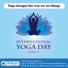 """""""Happy International Yoga day 2020""""  Few Yoga tips for better vision:  Trataka: Gaze at an object continuously for a fixed period. Bhastrika Pranayam: Boosts blood circulation to head & improves vision Palming: Rub your hands & place on your eyes to release eye strain Eye Rotation: side to side, up & down, Circular rotation. Happy International Yoga Day, Graduation Post, Care Hospital, Medical College, Eye Strain, Medical Science, Yoga Tips, Hyderabad, Cool Eyes"""