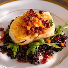 Halibut with Pomegranate-Persimmon Salsa over Black Rice. Great winter ...