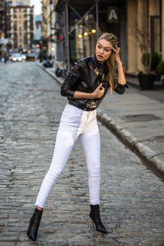 pinterest @esib123  black leather ankle boots and white jeans white black leather jacket. gigi hadid style