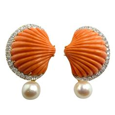 Solid Coral, Diamond & Pearl Clip-On Earrings | From a unique collection of vintage clip-on earrings at http://www.1stdibs.com/jewelry/earrings/clip-on-earrings/