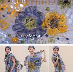Green Equinox / Felt Art Scarf... Lucy Morar...http://www.only-lu.com