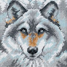 """Dimensions """"Call Of The Wolf"""" Counted Cross Stitch Kit Counted Cross Stitch Patterns, Cross Stitch Designs, Cross Stitch Embroidery, Peler Beads, Needlepoint Patterns, Cross Stitch Animals, Plastic Canvas Patterns, Cross Stitching, Pixel Art"""