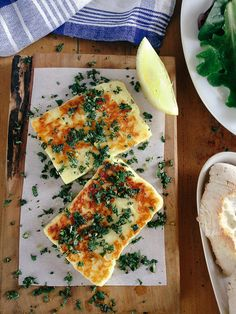 Fried halloumi with mint gremolata - Yes that is cheese that you can fry with a crisp crust and lovely melted insides. To die for!
