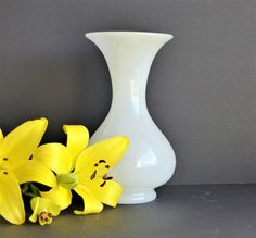 White Opaline Glass Vase. French Vintage White Vase. Vintage White Opaline Glass Vase.  White Vase.  Hand Blown GIFT FOR HER. French Vintage by BlancVintageEmporium on Etsy