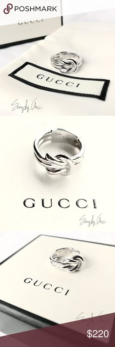 9135ee55e20 New authentic GUCCI sterling silver knot ring Time to tie that look  together with this Gucci exquisite ring. This sterling silver band features  a Piccolo ...