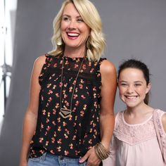 Feminine tops are trending this fall and not just for your daughter. You can wear them too! Lace tops and floral tops with ruffles are the perfect pieces to create cute outfits you can wear from summer into fall. Add modern accessories to floral tops to elevate your look.